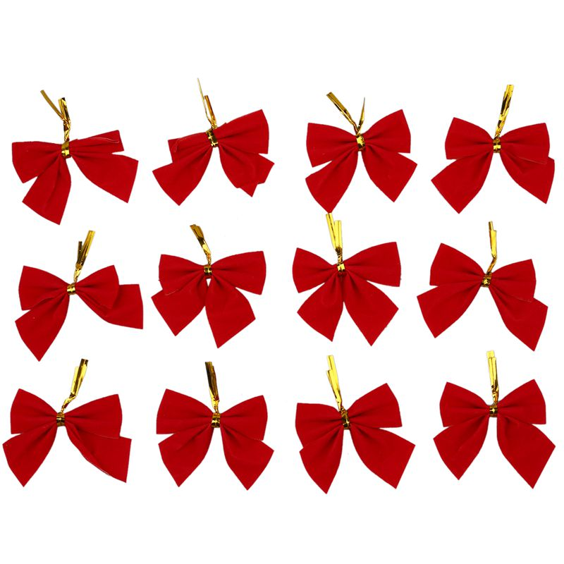 12 Pcs Color Bow Christmas Tree Xmas Hanging Ornament Bowknot Party Decor Red
