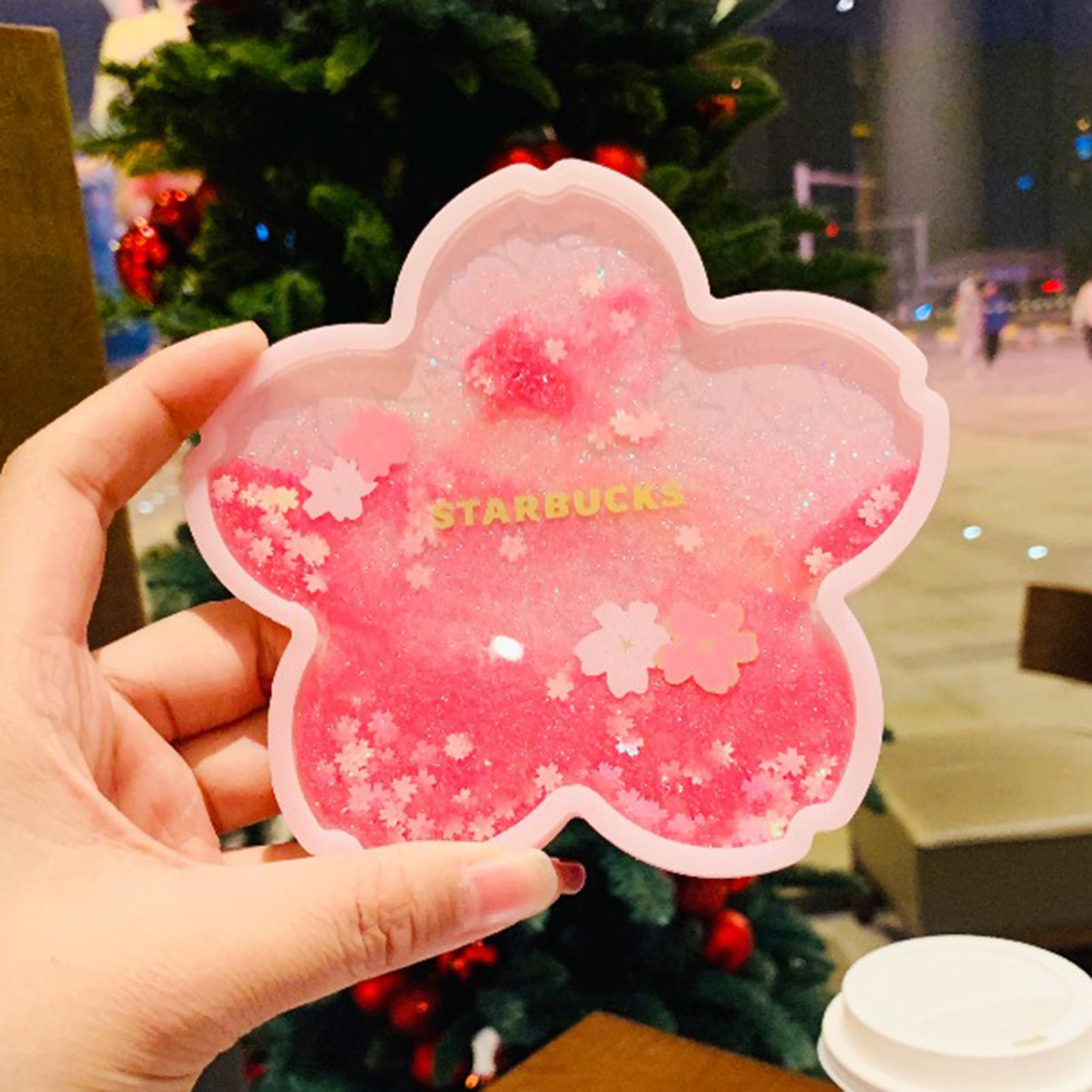 Glittery Sakura Quicksand Drink Mat 1