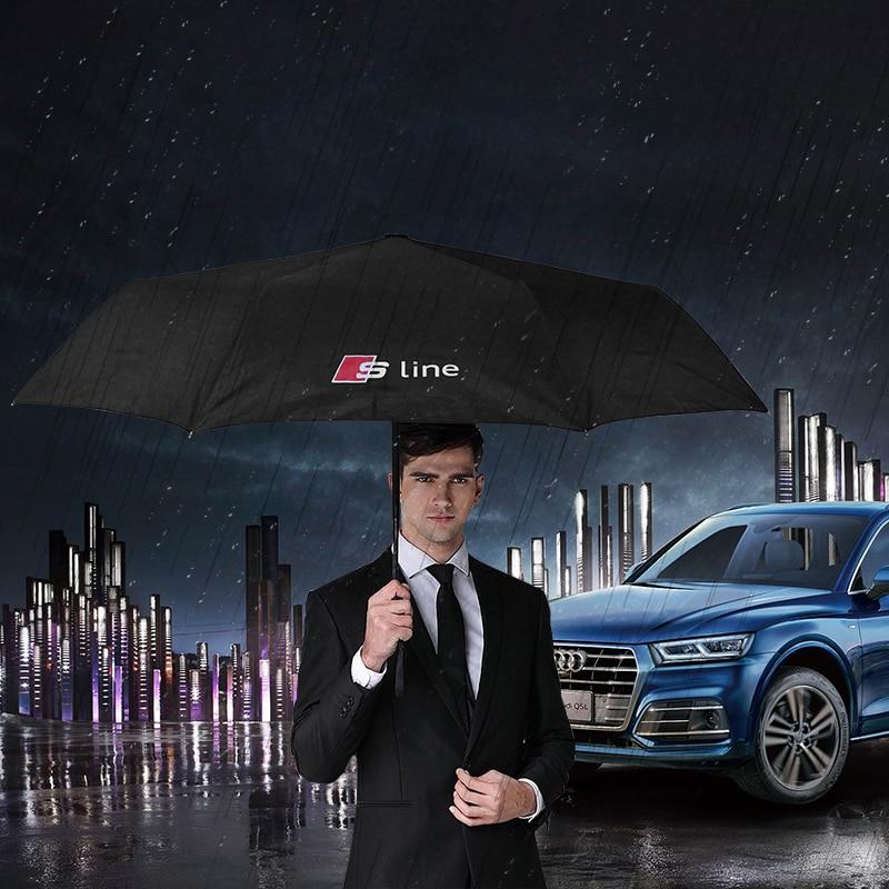 Car Wind Resistant Three Folding Automatic Umbrella  For Audi A1 A4 A6 A5 A7 A8 C5 C6 C7 B5 B6 B7 B8 B9 80 90 100 A3 8V V8 8P 8L
