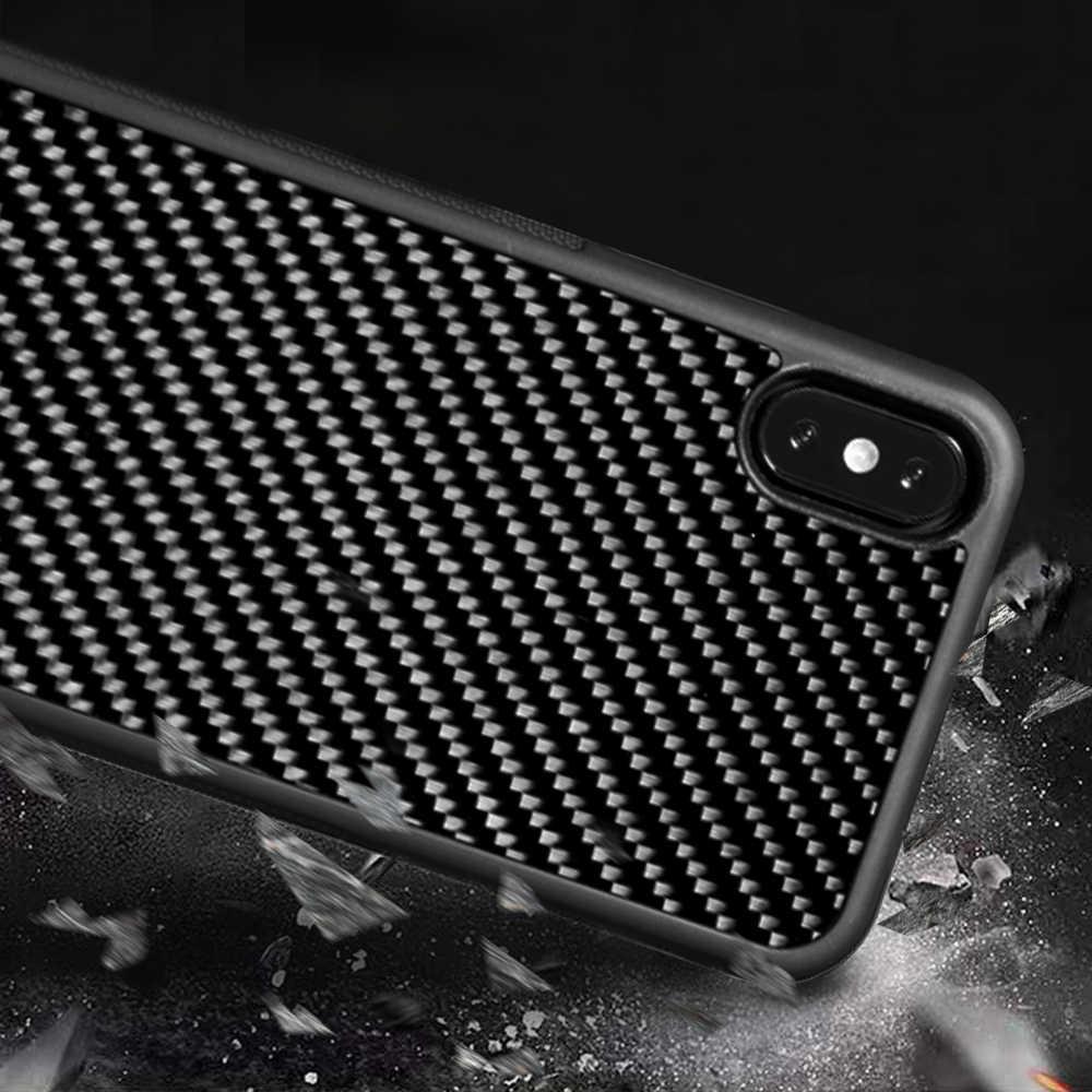 Real Red Carbon Fiber Case Ultra Hybrid voor Apple iPhone Xs XsMAX Antislip Ontworpen voor Apple iPhone 7 8 7 plus 8 Plus X XR Case