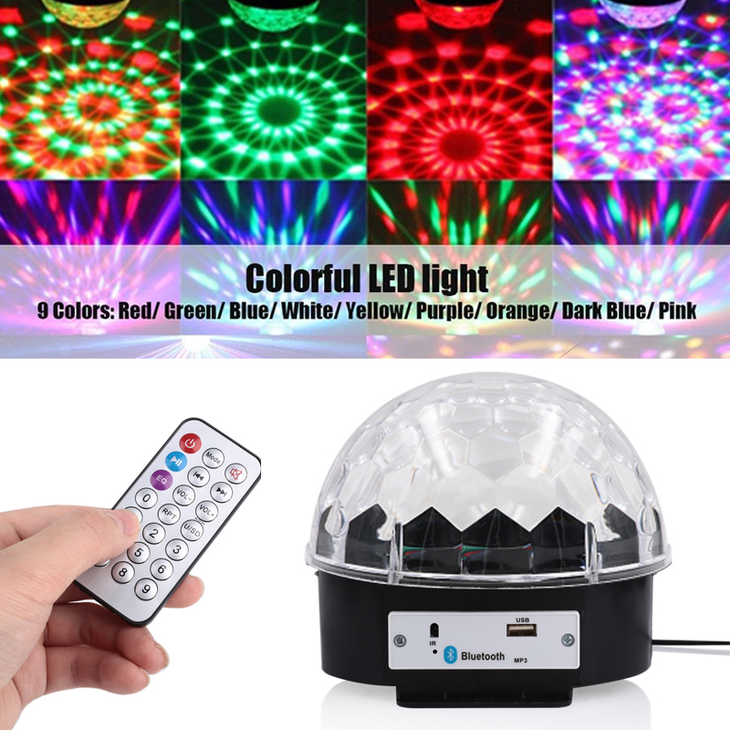 LED Stage Light MP3 Wedding Supplies Smart LED Music Light Crystal Magic Ball Light Bluetooth 4.0 Loudspeaker Remote Control