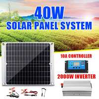 Home Solar Panel Powered System kit40W Solar Panel Solar Cells With 10A Controller 2000W Power Inverter For 12V Battery Charger