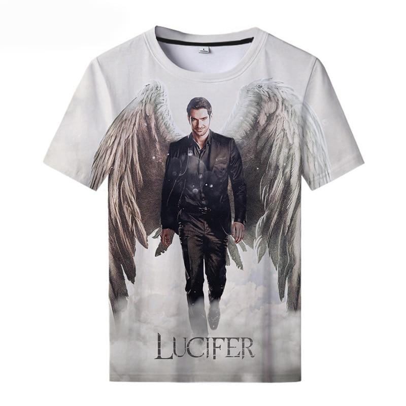 Костюм для девочек, комплект из платья с круглым вырезом Футболка Люцифер сезон 5 3D печатных футболка Люцифер футболка классная Для мужчин и...