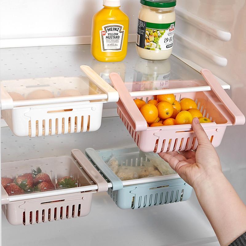 Adjustable Kitchen Refrigerator Storage Rack Kitchen Organizer Fridge Freezer Shelf Holder Plastic Drawer Organiser Space Saver