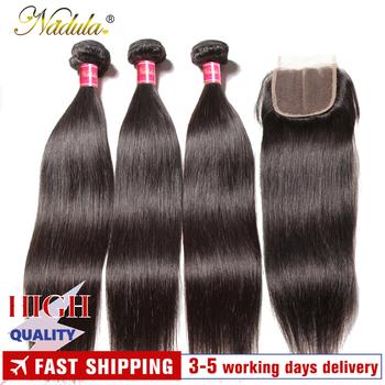 Nadula Hair 3 zestawy brazylijskie proste włosy z zamknięciem 4*4 zamknięcie koronki z splecione ludzkie włosy proste wiązki z zamknięciem tanie i dobre opinie = 10 Remy włosy Wszystkie kolory Wyprostował 3 sztuk wątek i 1 pc zamknięcia Brazylijski włosy