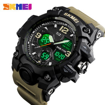 SKMEI Men Quartz Digital Watch 2 Time Military Army Sports Watches Waterproof Calendar Chrono Male Wristwatch Relogio Masculino цена 2017
