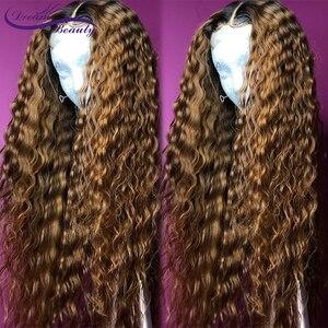 Image 3 - Ombre สีบลอนด์ CURLY วิกผม 13X6 ลูกไม้ด้านหน้าวิกผม Pre Plucked 1B/27 สี Ombre บราซิล CURLY Remy Hair Dream Beauty