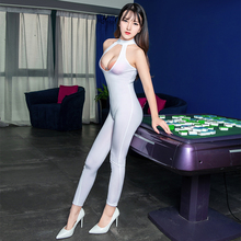Costumes Choker Collar Open-Cup Bodysuit Necklace Crotchless Transparent Sexy Women Nightclub