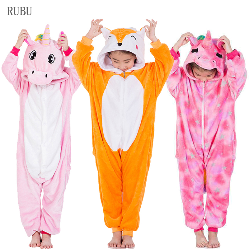 Children Kigurumi Unicorn Pajamas Onesie Kids Baby Cartoon Anime Fox Jumpsuit Animal Panda Cosplay Sleepwear For Girls Boys