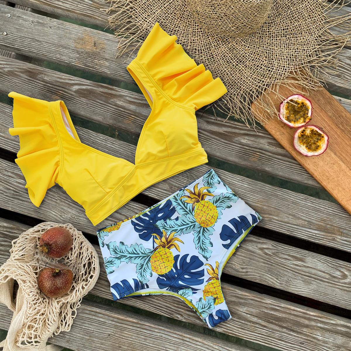 2021 New Swimsuit Women Swimwear High Waist Bikini Ruffle Bikini Set Push Up Bathing Suit Print Beach wear Summer Biquini Female