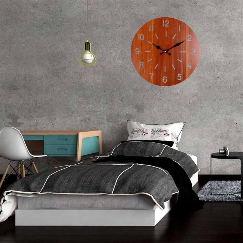 Europe Sytle Retro Wall Clock Circular Wood Home Bar Bedroom Hanging Room Decor Necessary Household Decoration Gadgets