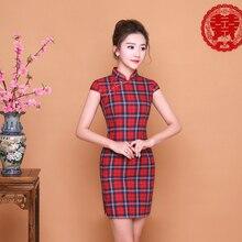 SHENG COCO Bayanlar Kırmızı Mavi Ekose Qipao Elbise Günlük Kafes Cheongsam Kısa Mini Çin Yeni Yıl Cheongsam Qi Pao Elbiseler chipao
