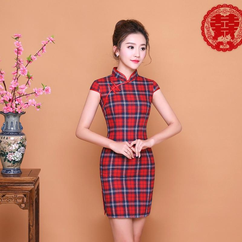 SHENG COCO Ladies Red Blue Plaid Qipao Dress Daily Lattice Cheongsam Short Mini Chinese New Year Cheongsam Qi Pao Dresses Chipao