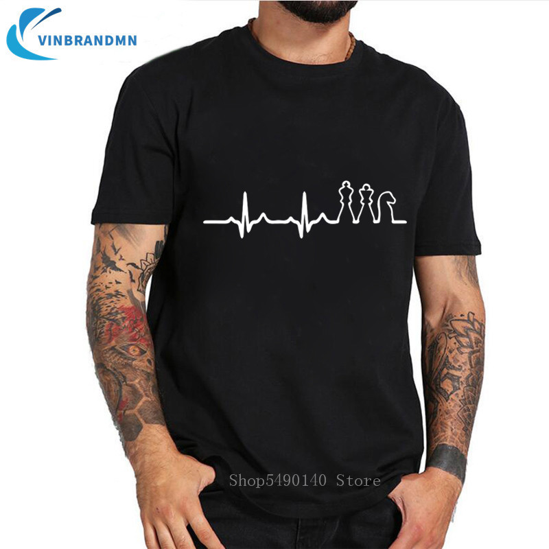Chess Heartbeat T Shirt Men Funny Gift Chess Master Shirt Fashion Chess Club T-Shirt Novelty Game Cotton Tee Cool Gamer Clothing image