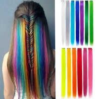 10 stks/partij Synthetische Lange Enkele Clip In Een Stuk Haar Extensions 50cm Regenbogen Kleur Gerade Haarstukje Voor women