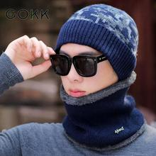 COKK New Winter Warm Camouflage Knitted Hat Scarf Set Thick Knit Beanies Balaclava Neck for Men Women Cap Bonnet