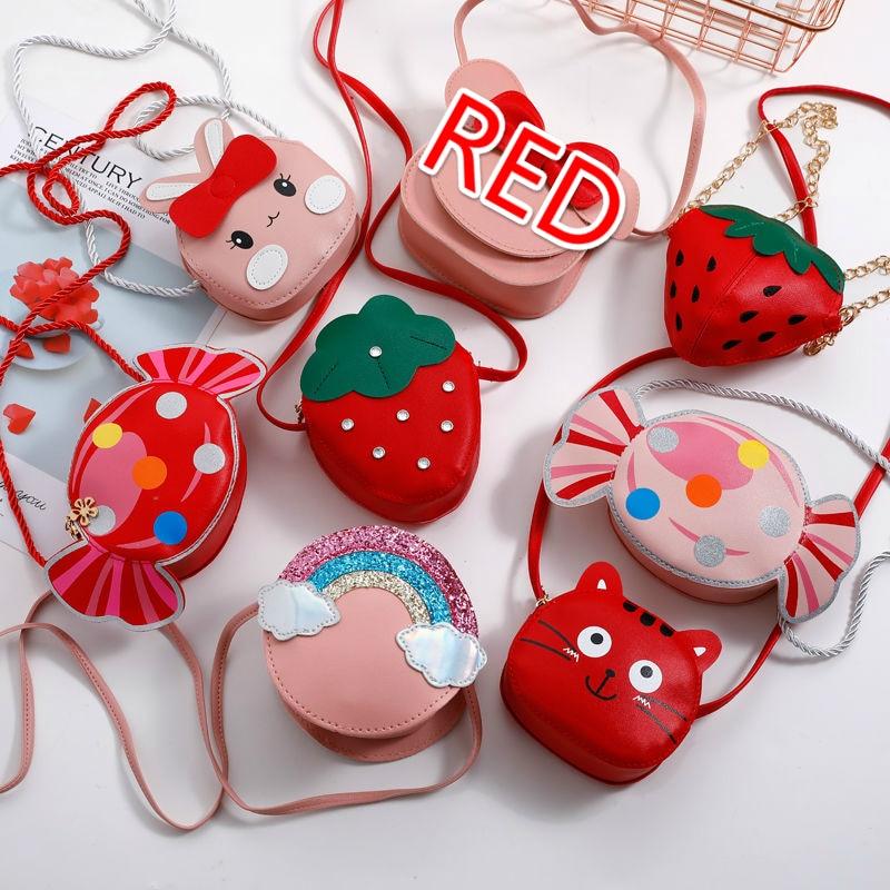 Bonito das crianças do plutônio de couro vermelho mensageiro saco bonito meninas dos desenhos animados sacos de ombro princesa acessórios mini moeda bolsa bolsas