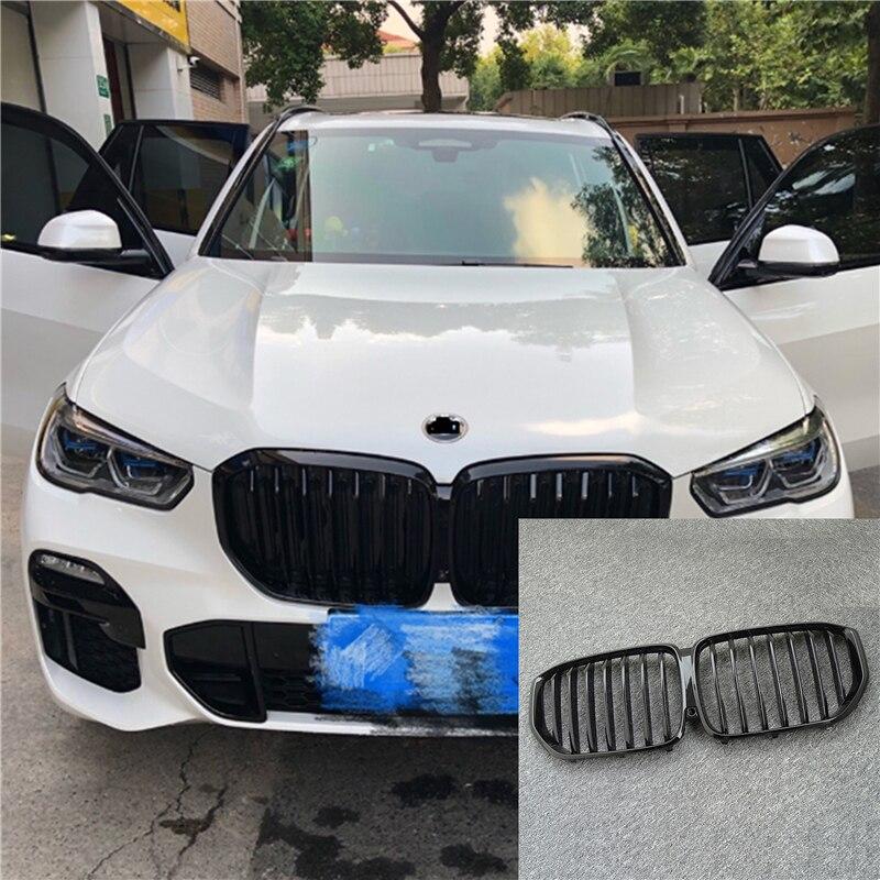 1 пара глянцевая/матовая Черная передняя решетка для BMW новый X5/G05 2020 решетка автомобиля Стиль Установите бампер планка двойная линия гоночн...