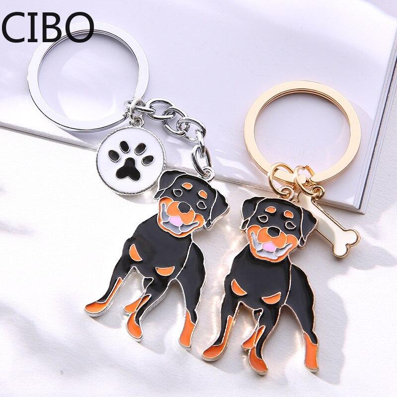 2019 New Rottweiler Dog Pendant Key Chains Men Women Silver Color Alloy Metal Bag Charm Male Female Car Keychain Key Ring Holder