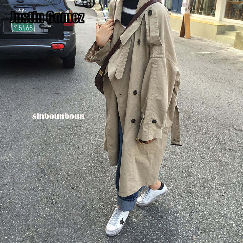 Top Loose Oversize Fashion Korean Style Female Cold Coat Chic Epaulet Design Womens Windbreakers Double-breasted   Trench   Coat