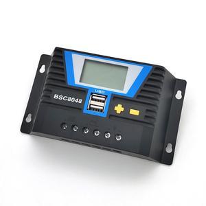 Image 3 - 20A 30A 60A 80A PWM שמש בקר 12V 24V 36V 48V תאורה אחורית LCD ליתיום סוללה רגולטור של אור הכפול זמן שליטת USB