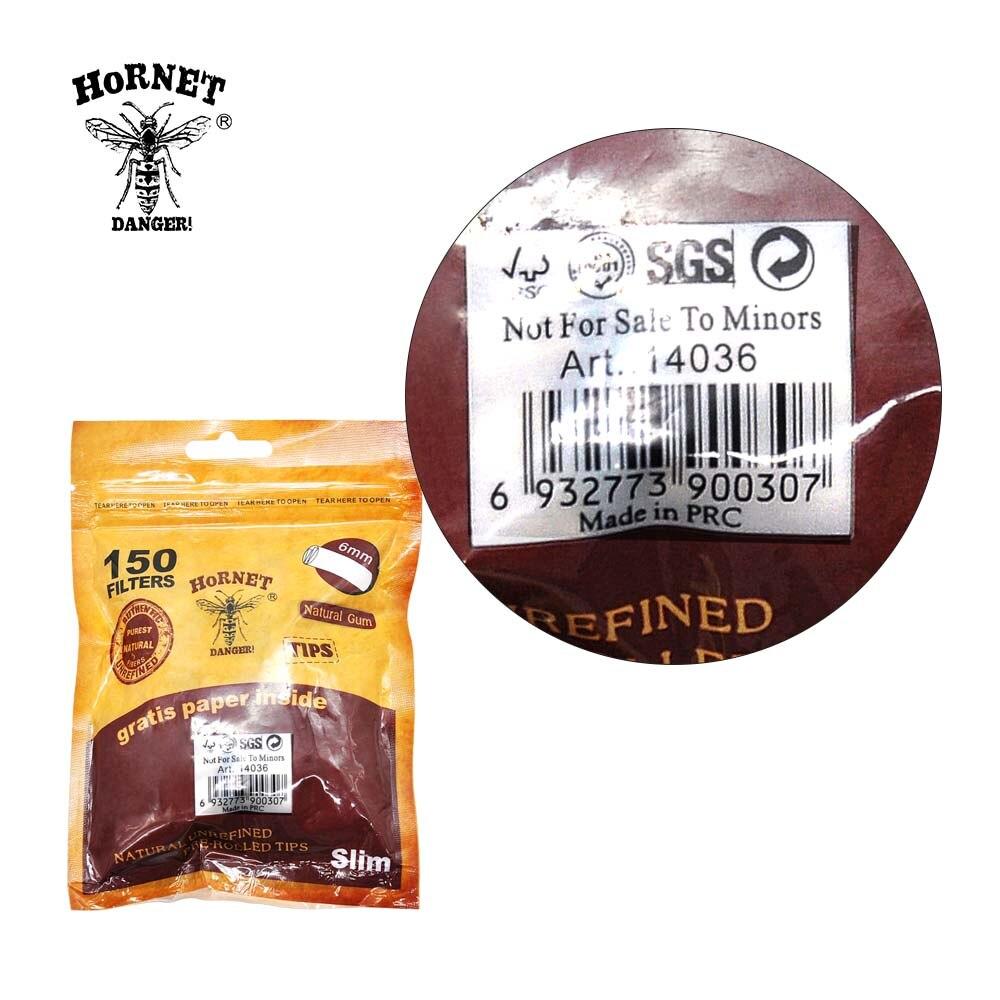 HORNET DANGER 150 x Per Rolled Filter Tips Paper Natural Gum Slim Rolled Natural Unrefined Smoke Cigarette Filter Rolling Tips 5