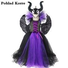 Meninas bandagem chifres preto mal maléfica rainha traje de halloween meninas tutu vestido crianças festa de aniversário natal vestidos xx0