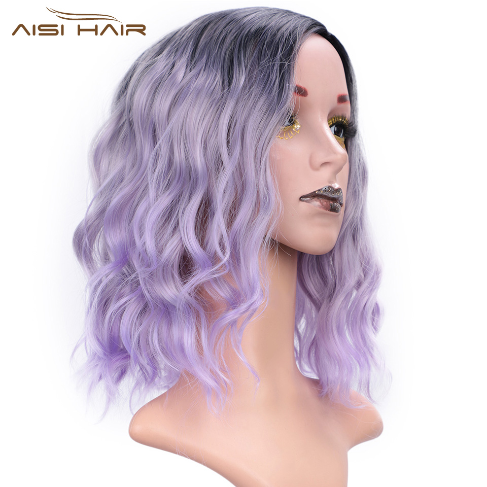 I's A Wig 14'' Ombre Purple Synthetic Wigs For Black /White Women Short Water Wave Pink/Blonde/Grey Hair Can Be Cosplay Bob Wig