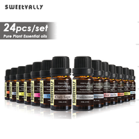 Sweetvally 24pcs/Kit Plant Aromatherapy Diffusers Essential Oil 10ml Organic Body Massage Relax Fragrance Skin Care Kit