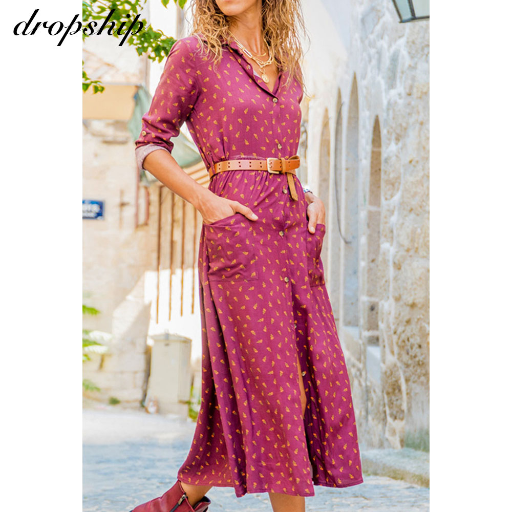Dropship Maxi Dresses For Women Chiffon Summer Boho Elegant Dress Summer Long Sleeve Ladies Dresses Casual Pink Ruffle Dress