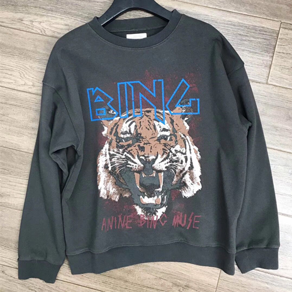 Niche Boutique Original Single Cement Gray Round Collar Spring Autumn Tiger-head Printed Long-sleeved Sweatshirts Top High-end