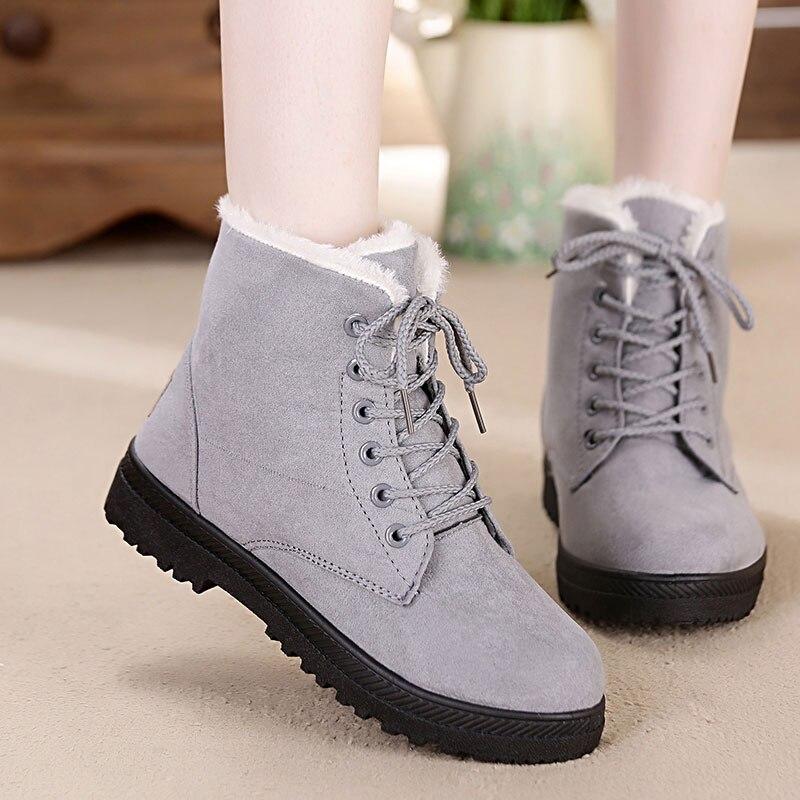 Snow boots 2019 warm fur plush Insole women winter boots square heels flock ankle boots women shoes lace-up winter shoes woman 3