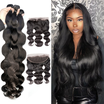 13x4 Lace Frontal with Bundles Body Wave Bundles with Frontal Malaysian Human Hair 3 Bundles with Frontal Closure alibaby 3 bundles with frontal remy kinky curly bundles with closure natural color human hair bundles with frontal closure 13x4
