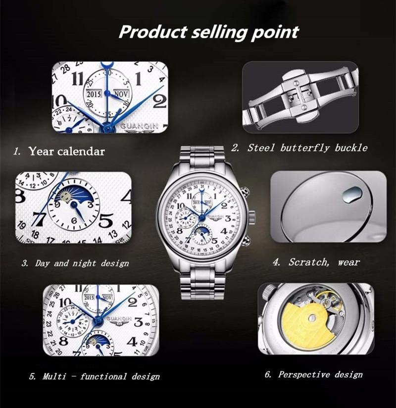 H68e71e7292b749be8902d6cf7d53d34dN GUANQIN Automatic Mechanical Men Watches Top Brand Luxury Waterproof date Calendar Moon Leather Wristwatch Relogio Masculino A