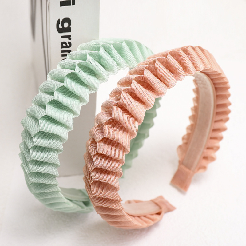 Summer Women Girls Cute Folds Hairbands Sweet Hair Holder Ornament Solid Color Headband Headwear Fashion Hair Accessories