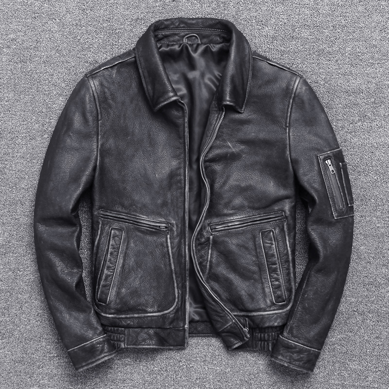 Winter Autumn Genuine Leather Jacket Men Streetweaar Real Sheepskin Coat Man Moto Biker Vintage Cow Leather Jackets 70222