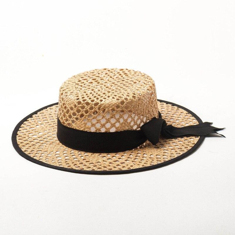 Elegant Wide Brim Women Summer Hat Crocheted Packable Raffia Hat Ribbon Bowknot Lady Sun Beach Hat Handmade Straw Wedding Fedora