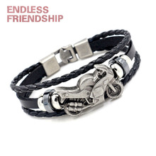 Dorpshipping Punk Rock Motorcycle Genuine Black Leather Bracelet Men Vintage Rope Bracelet&Bangle Jewelry