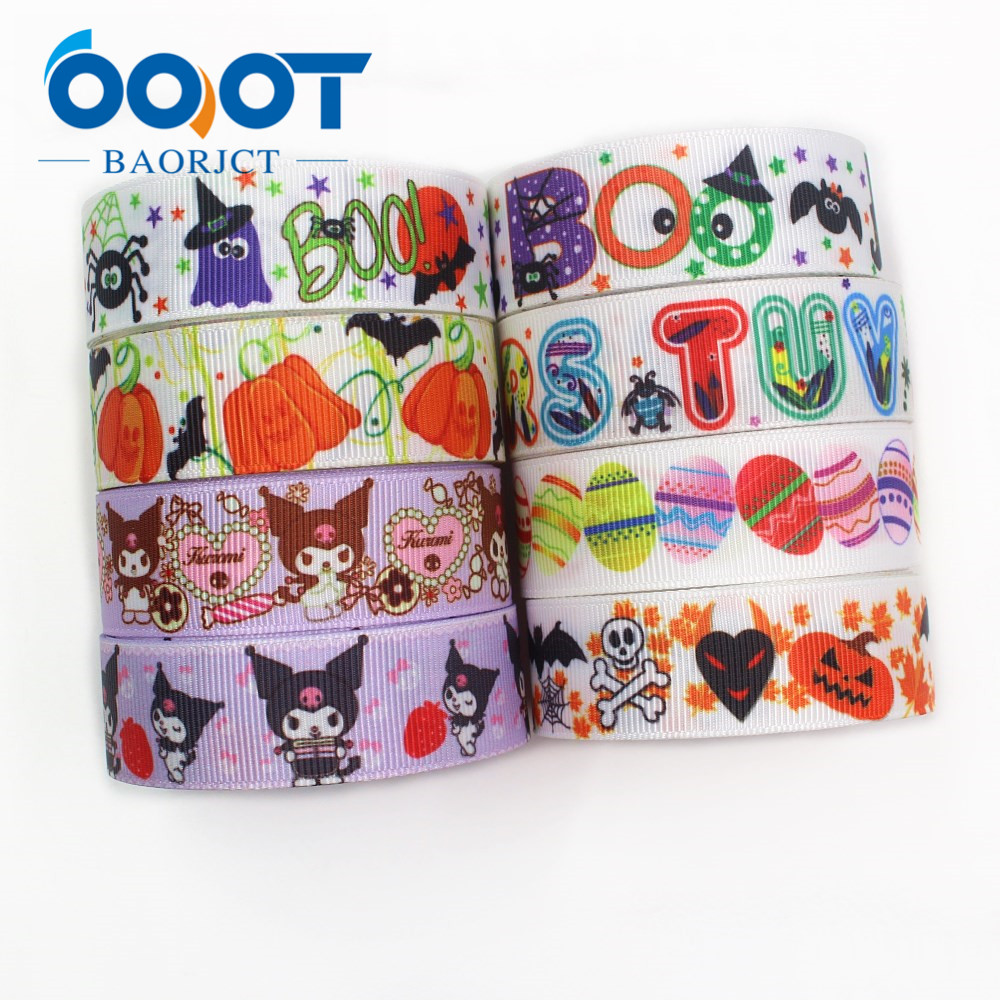 OOOT BAORJCT I-191004-2332,22mm,10yards <font><b>Halloween</b></font> series Cartoon <font><b>grosgrain</b></font> <font><b>ribbons</b></font>,Holiday decoration,DIY handmade materials image
