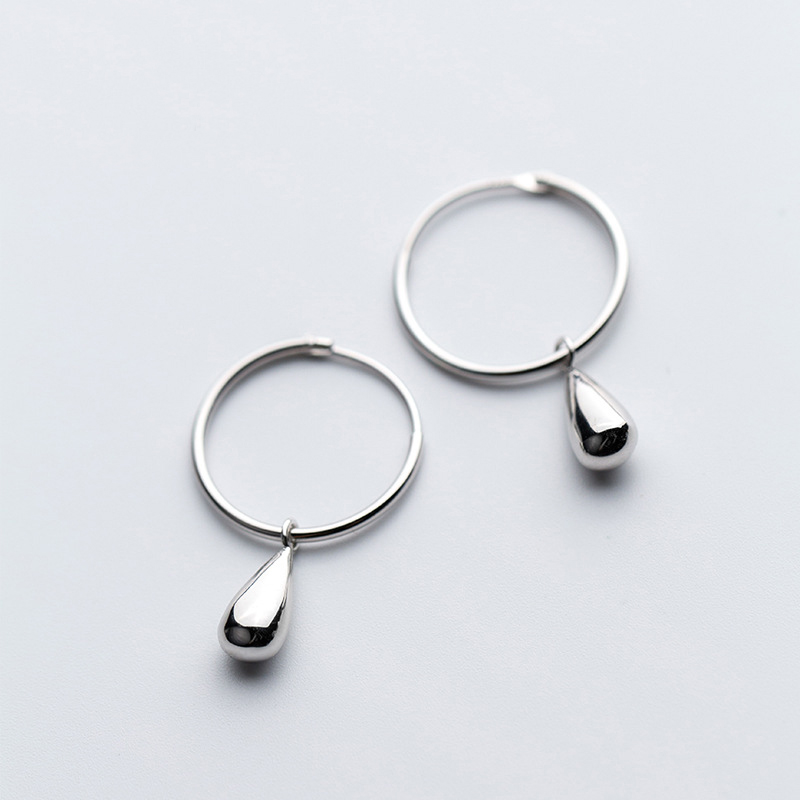 MloveAcc 2019 100% 925 Solid Real Sterling Silver Waterdrop Hoop Earrings for Girls Teens Gift Womens Fashion Jewelry