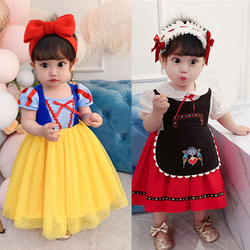 Criança neve branca arier elza princesa vestido meninas traje do bebê festa de aniversário vestidos cosplay dos desenhos animados vestido bonito
