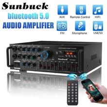 Sunbuck 2000w bluetooth estéreo amplificador surround som usb sd amp fm dvd aux display lcd de cinema em casa karaoke controle remoto