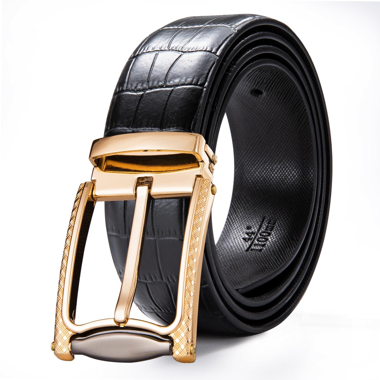 Luxury Crocodile Leather Designer Real Leather Belt Men Vintage Pin Buckle Belts Male Waistband Jeans Strap Black Men's Belt