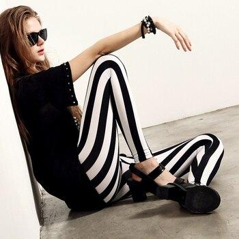 CHSDCSI Stripe Printed Leggings Women Sexy Elastic Pants Plus Size Polyester Trousers Print Push Up Legging