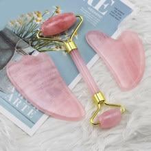 Rosa rolo de quartzo jade gouache raspador rosto massager rolo facial emagrecimento face lifting anti celulite cuidados com a pele