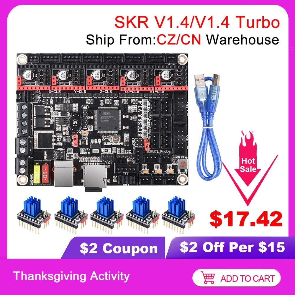BIGTREETECH SKR V1 4 BTT SKR V1 4 Turbo Control Board 32Bit SKR V1 3 SKR 1 4 TMC2209 TMC2208 3D Printer Parts For Ender 3 Pro