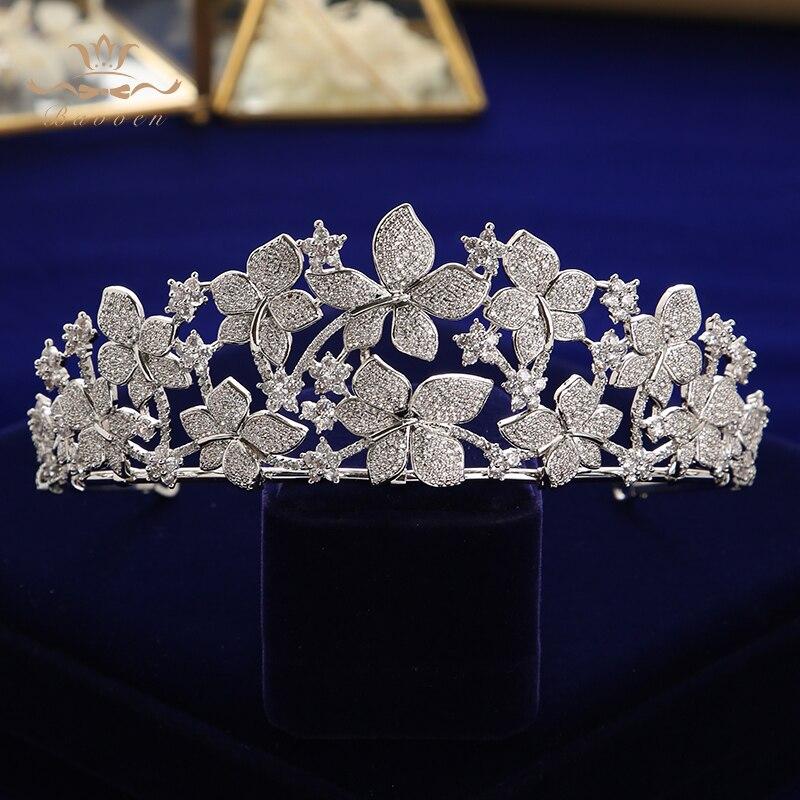 Takı ve Aksesuarları'ten Saç Takısı'de Bavoen Düğün Çiçek Zirkonyum taş taç kraliçe Prenses Balo Balo Baş Aşınma şapka aksesuarları düğün saç'da  Grup 2