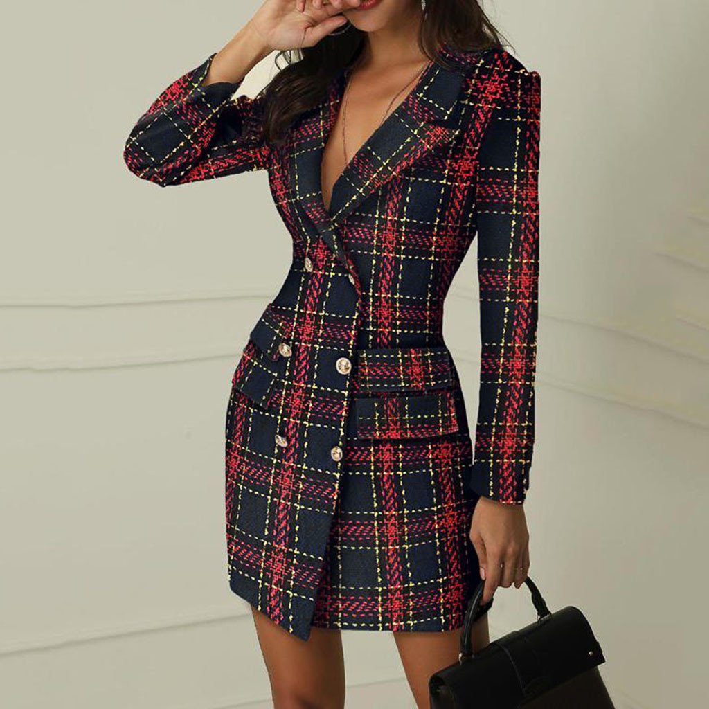 Fashion Suit Women Blazer Dress Autumn Winter Double Breasted Plaid Pocket Button Front Military Style Mini Dress Free Ship Z4