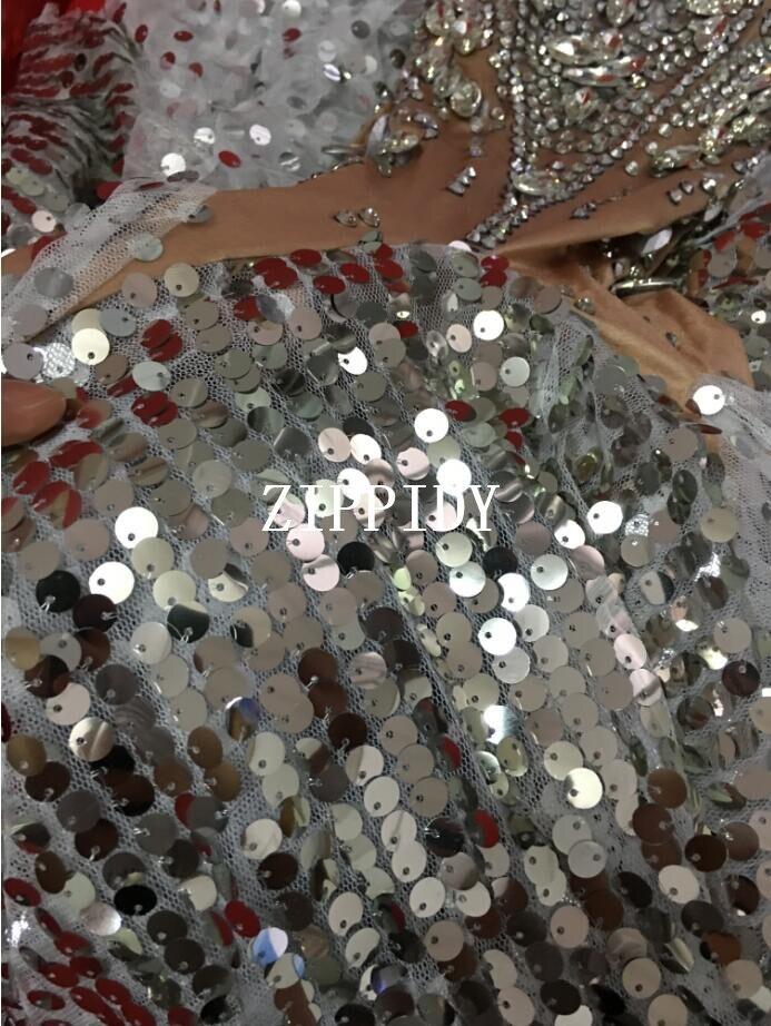 Flashing Silver Sequins Rhinestones White Fringes Dress Women/'s