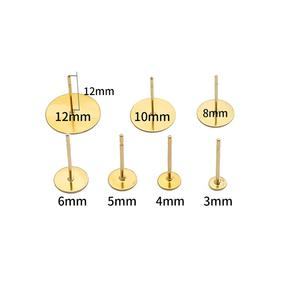 Пустая основа для сережек-гвоздиков из нержавеющей стали, 20/100 шт., 3, 4, 5, 6, 8, 10, 12 мм, кабошон, настройки, материал для изготовления ювелирных изделий, принадлежности для поделок